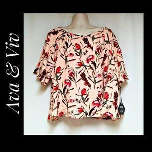 Ava & Viv Peach Floral Top Size 3X NWT'S